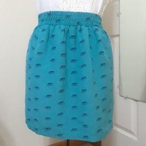 Loft sidewalk skirt turquoise blue elephant print
